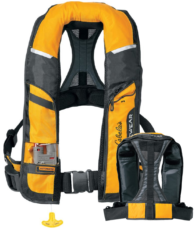 The personal flotation device capmel for Cabelas fishing kayak